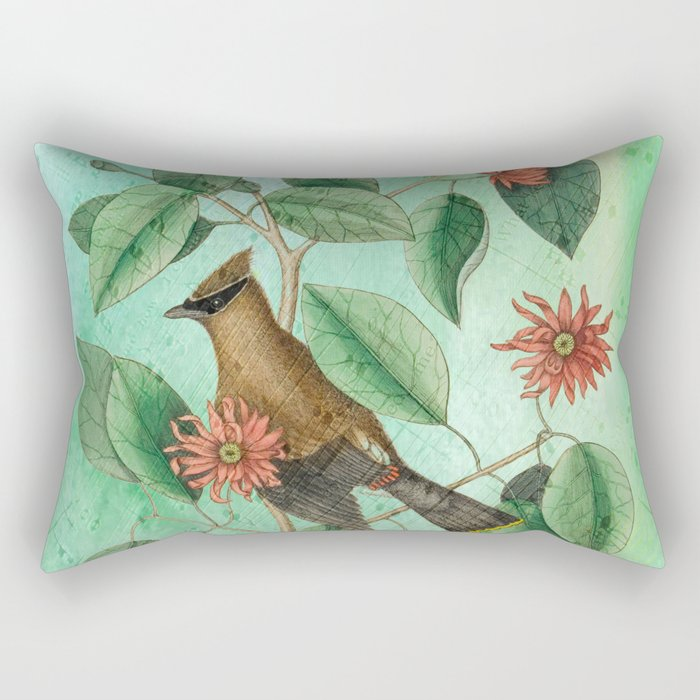 Bohemian Waxwing with Carolina Allspice, Antique Natural History Collage Rectangular Pillow