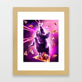 Laser Eyes Space Cat Riding Sloth, Llama - Rainbow Framed Art Print