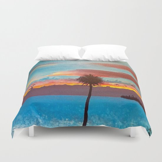 The Beautiful Key West Sun is captured in this ocean sunset painting Duvet Cover