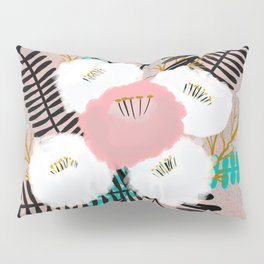 Green and Black Leaves with Flowers Pillow Sham