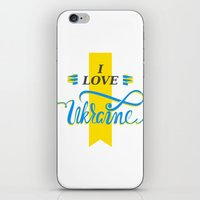 ukraine iPhone & iPod Skins featuring I love Ukraine by Broncos