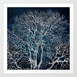 Midnight Silver tree - Wallnut Art Print