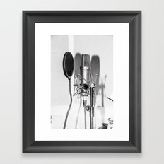 Microphone black and white Framed Art Print
