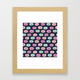 Donuts pattern pink doughnut cute food print by andrea lauren Framed Art Print