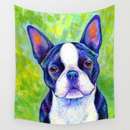Colorful Boston Terrier Dog Wall Tapestry