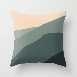 blurry greenish mountains Throw Pillow