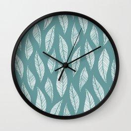 Simple Sage Leaf Print Wall Clock