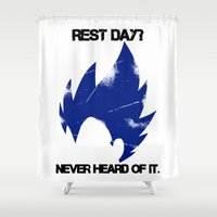 vegeta Shower Curtains featuring Vegeta - Rest? Never Heard of it. by luvusagi