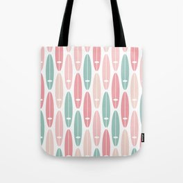 Vintage Surf Boards in Pastel Pink Tote Bag