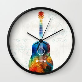 Colorful Guitar Art by Sharon Cummings Wall Clock