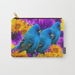 BLUE BIRDS SUNFLOWERS PURPLE FLORA ART Carry-All Pouch