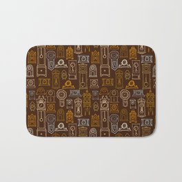 Brown Wall of Clocks Bath Mat