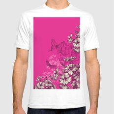 Vintage butterfly wallpaper- magenta MEDIUM White Mens Fitted Tee