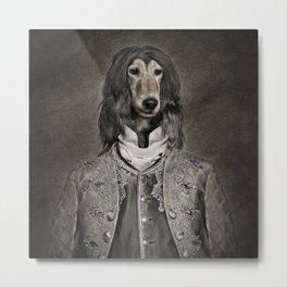 Afghan hound wearing a Louis XIV suit Metal Print