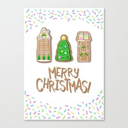 Merry Christmas Poster with Gingerbread Houses and Fir Tree Canvas Print