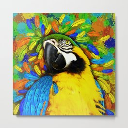 Gold and Blue Macaw Parrot Fantasy Metal Print