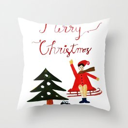 Merry Christmas Scene Throw Pillow