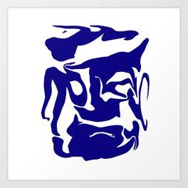 face3 blue Art Print
