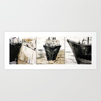 ship Art Prints featuring ship by woman