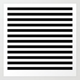 Black and White Horizontal Strips | Classic Cabana Stripe Art Print