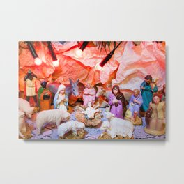 Christmas crib nativity in Bethlehem crib Metal Print