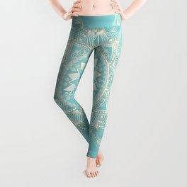 Elegant White Gold Mandala Sky Blue Design Leggings