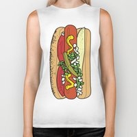 hot dog Biker Tanks featuring HOT DOG by RUMOKO x Vintage Cheddar
