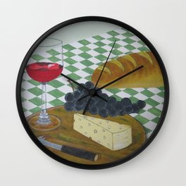 Bread Wine and Cheese Wall Clock