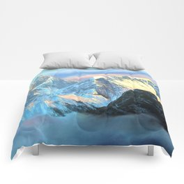 Panoramic Sunrise View Of Everest Mountain Comforters