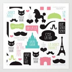 Vintage style Paris typography and illustration pattern Art Print