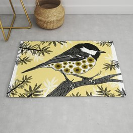 Floral birds - Coal tit and sunflowers Rug