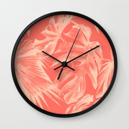 Living Coral Tropical Palm Leaves Monstera Wall Clock
