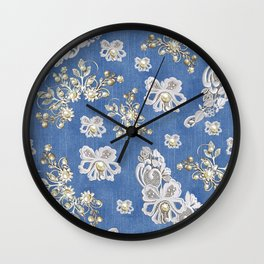 Costume jewelry, Ivory Pearls and White Lace on Blue Denim Texture Wall Clock