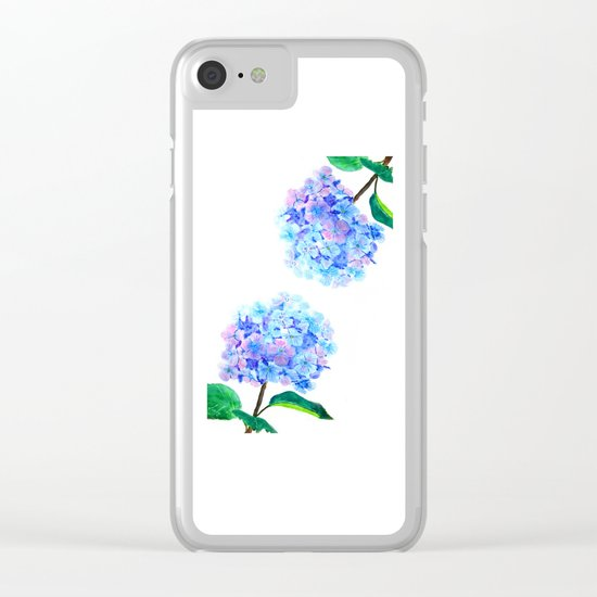 blue purple hydrangea Clear iPhone Case