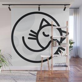 Sleeping white grey cat Wall Mural