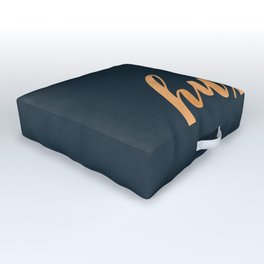 Hustle Text Copper Bronze Gold and Navy Outdoor Floor Cushion