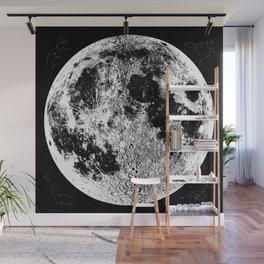 Black + White Full Moon Print, by Christy Nyboer Wall Mural