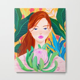 Botanical Lady Metal Print