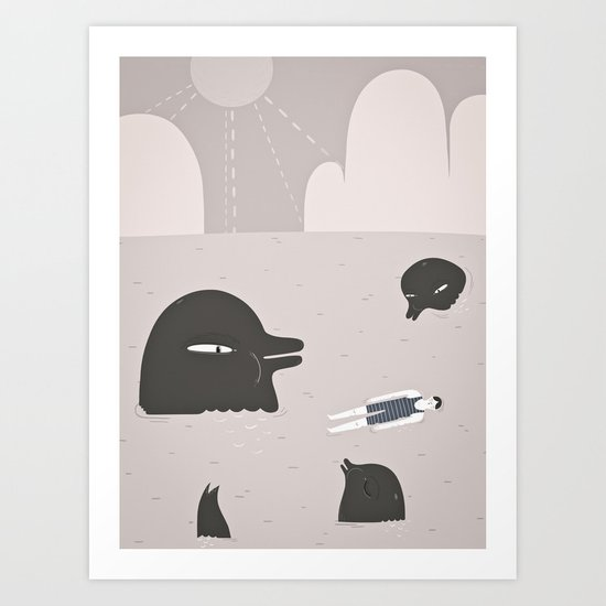 swimming with dolphins. Art Print