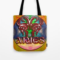 zodiac Tote Bags featuring Aries Zodiac by CAP Artwork & Design
