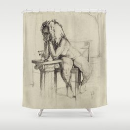 'The Unwinding' Charcoal Drawing Nude woman drinking Wine Shower Curtain