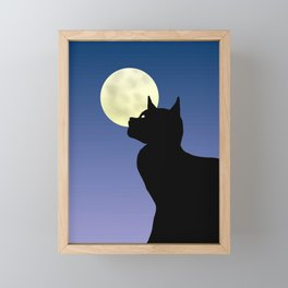 Moon and black cat Framed Mini Art Print