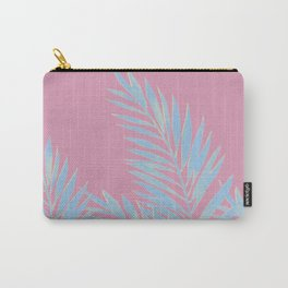 Palm Leaves Blue And Pink Carry-All Pouch