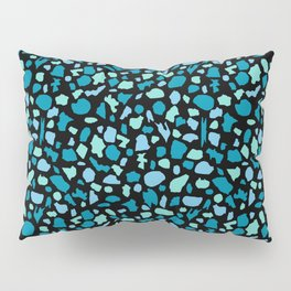 Terrazzo in Peacock Blue and Mint on Black Pillow Sham