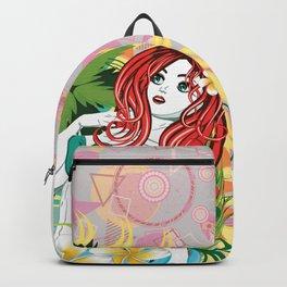 Mermaid and plumeria flowers Backpack