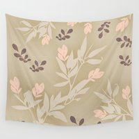 vintage flowers Wall Tapestries featuring vintage flowers by Julia Tomova
