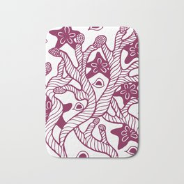 Seaweed, coral and starfish ornament Bath Mat