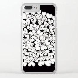 Hearts and Flowers Zentangle black and white illustration Clear iPhone Case