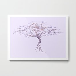 Quiet Acacia Zen Tree , Earthy African Bonsai Peace Lavendar Purple Metal Print