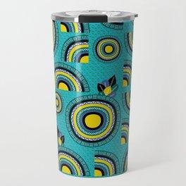 African teal hand-drawn cropped Mandalas Travel Mug